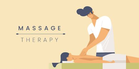 Massage therapy flat banner vector template. Professional masseur and young woman cartoon characters. Spa center service poster concept. Body treatment procedure illustration with typography Vectores