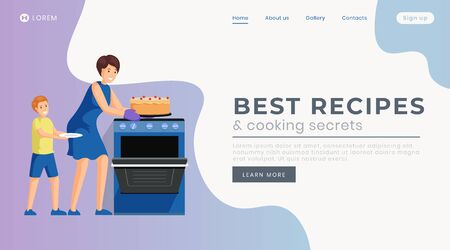 Best recipes landing page vector template. Culinary tutorials website homepage interface idea with flat illustration. Delicious homemade desserts cooking web banner, webpage cartoon concept
