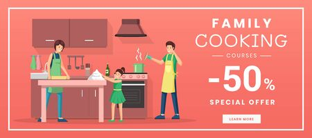 Family cooking courses web banner template. Culinary educational classes for parents with children internet promo poster. Special offer, 50 percent discount advertisement with flat illustration