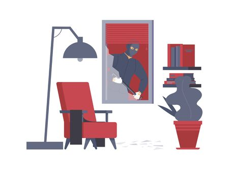 Apartment robbery, housebreak flat vector illustration. Dangerous burglar with crowbar, thief in ski mask cartoon character. Criminal in disguise breaking in house through window, crime commitment