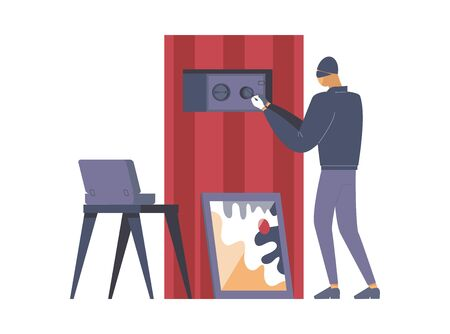 Criminal opening safe flat vector illustration. Thief, outlaw in mask cartoon character. Disguised burglar lock picking safebox, robber stealing money, crime scene, larceny design element Çizim