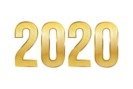 Golden 2020 number realistic vector illustration. Luxurious new year symbol with gold glitter isolated on white background. Winter holiday banner, christmas greeting card decorative design element