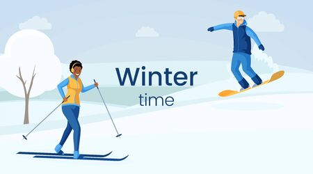Winter time flat vector illustration. African american girl skiing, caucasian man skateboarding, people enjoying outdoor sport cartoon characters. Skiing resort, winter activities banner design