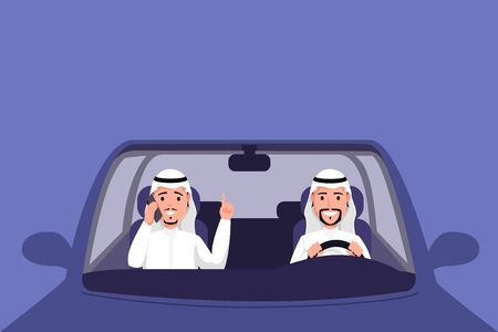 Arab man driving auto vector illustration. Muslim men in thawb sitting on front seat of vehicle and talking on phone. Traditional arabic countries male clothing, muslim businessmen in transport Vektorové ilustrace