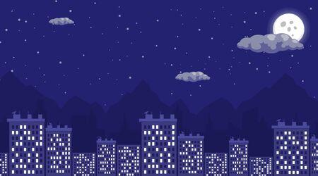 Illustrazione vettoriale piatta di notte vista città. Dormire di notte, paesaggio urbano con luna piena e cielo stellato. Appartamento residenziale a più piani, edificio, architettura di case megapolis Vettoriali