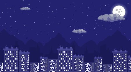 Night city view flat vector illustration. Sleeping quarters at night, cityscape with full moon and starry sky. Residential multi-storey apartment, building, megapolis houses architecture Vector Illustratie