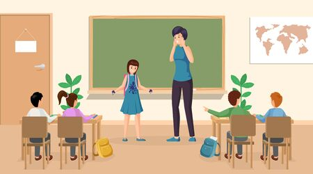 Students at classroom vector illustration. Confused girl with ink stains on clothes at class teacher standing near blackboard. School classroom, schoolchildren at lesson characters