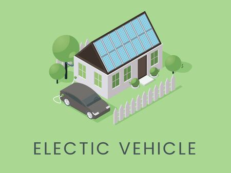 Electric vehicle flat banner vector template. Environmentally safe, eco friendly transportation poster concept. House with solar panels and car charging station isometric illustration
