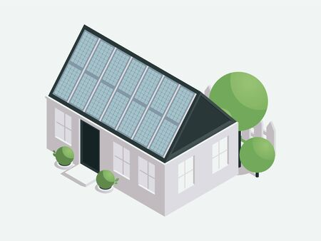 House with solar batteries isometric illustration. Modern sustainable architecture, nature conservation, ecology protection concept design element. Home powered by photovoltaic panels