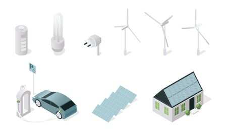 Sustainable technology symbols isometric illustrations set. Renewable power sources and eco friendly tech isolated on white background. Solar panels, wind turbines, electric car and energy saving lamp