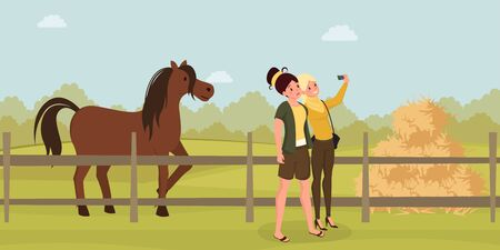 Girls selfie on farm flat illustration. Young women photographing horse cartoon characters. Female tourists visiting farmland, enjoying pastime with livestock animals, rural recreation idea Фото со стока - 138344080