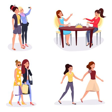 Girls leisure time vector illustrations set. Cartoon young women enjoying shopping together, drinking coffee at restaurant table, female friends taking selfie. Happy same sex couple holding hands