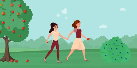 Girls running in garden flat illustration. Female friends enjoying countryside area relax cartoon characters. Cheerful same sex couple romantic date, gathering ripe apples near fruit tree Ilustrace