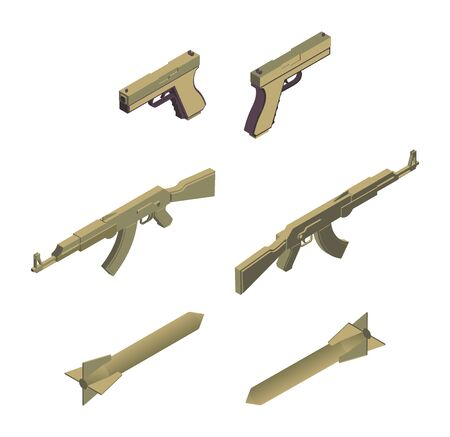 Military weapons isometric vector illustrations set. Modern army armament, ammunition, armed conflict design elements. Handguns, automatic machine guns and missile rockets isolated on white background
