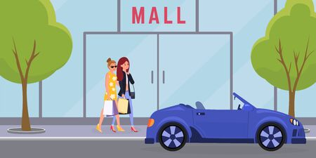Women going to mall vector illustration. Elegant girls, sisters enjoying shopping together cartoon characters. Favorite female pastime concept, weekend leisure idea, shopaholics hobby