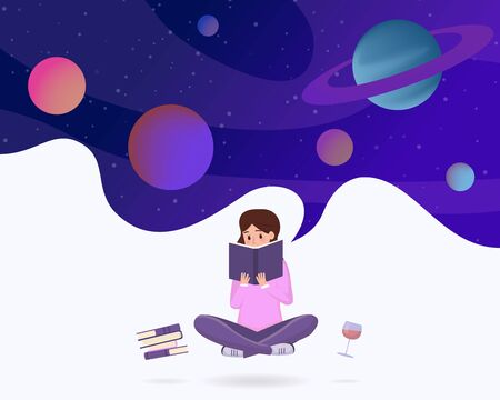 Immersed in reading abstract vector illustration. Young girl in lotus pose enjoying sci fi literature, fantasy novel cartoon character. Female student reading space exploration textbooks