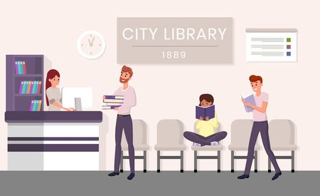 City library visitors flat vector illustration. Bearded man borrowing books cartoon character. Students revising for exams, pupils holding textbooks in public library, girl immersed in novel Иллюстрация