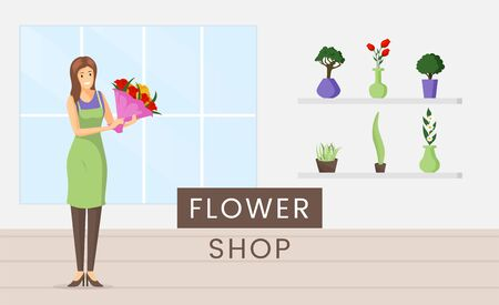 Flower shop flat banner vector template. Saleswoman occupation, natural decorative house plants retail business advertising poster concept. Cheerful florist holding bouquet illustration with typography