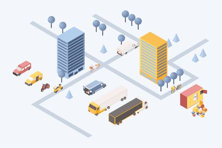 City goods delivery isometric illustration. 3d residential area with cargo vehicles, vans and scooters transporting boxes. Logistic company warehouse with boxes stack and trucks outdoors
