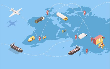 Worldwide goods shipment isometric illustration. Global delivery service with international trade routes and various transportation means. Logistic company transatlantic freight shipping