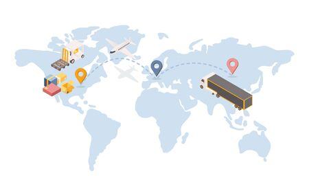 Transatlantic goods shipping isometric illustration. International logistic company with transportation terminal unit in Europe. Global trade route, cargo vehicles and air shipment service concept Vectores