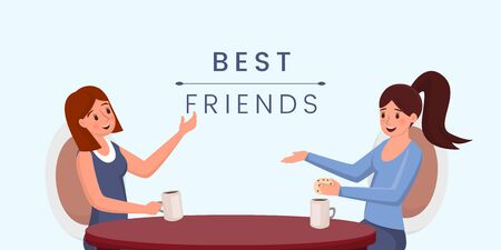 Best friends flat vector banner template. Young girls drinking coffee, chatting cartoon characters. Female friendship concept, pleasant pastime, social interaction idea poster design