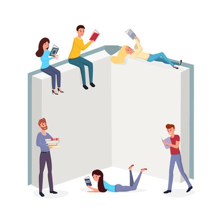 Smart people reading books flat illustration. Men and women immersed in interesting novels cartoon characters. Intellectuals pastime, hobby, useful relax concept, students revising for exam