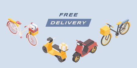 Free delivery vector isometric banner template. Cartoon bicycles, scooters and motorbikes illustrations set. Express urban goods shipment, quick food delivery advertising poster design