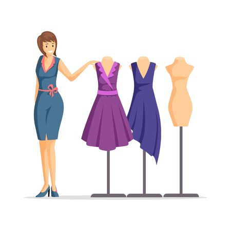 Female fashion designer flat vector illustration. Cheerful dressmaker, clothing seller, model cartoon character. Apparel designer and mannequins with dresses isolated on white background