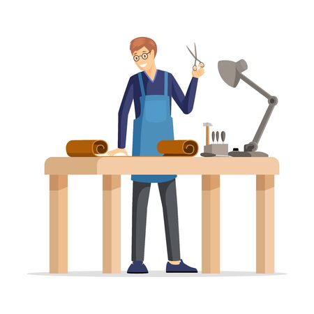 Professional tanner, skinner flat vector illustration. Cheerful craftsman, happy leather workshop employee in apron cartoon character. Guy cutting leather with scissors, craftsmanship design element