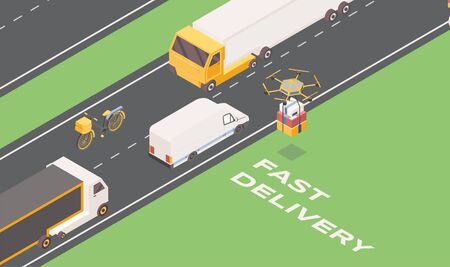 Fast delivery isometric banner template. Cartoon trucks, van and drone carrying parcels. Express goods shipment ads, postal service transportation vehicles, logistic company promo poster layout