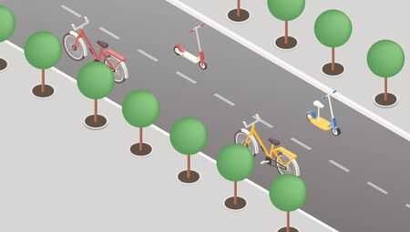 Eco friendly transportation isometric vector illustration. Bicycles and scooters with no drivers on empty street. Environmentally safe vehicles, alternative transport concept, city travel means