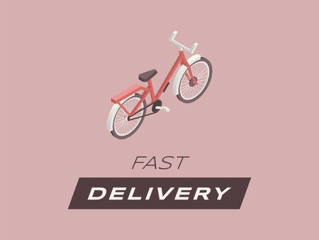 Fast delivery flat banner vector template. Express package delivering, urban courier service poster concept, local transportation business. Bicycle isometric illustration with typography