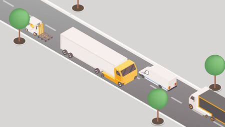 Trucks and vans on highway isometric illustration. 3d cargo vehicles, transportation means, road traffic concept. Postal service delivery, logistic company international parcels shipping