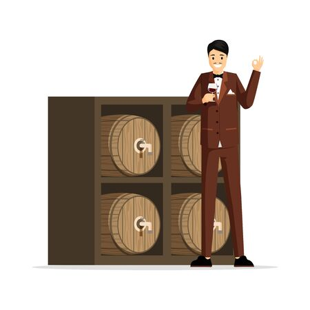 Professional sommelier flat vector illustration. Elegant man in tuxedo, taster holding wineglass cartoon character. Wine tasting expert, rich person degustating vintage red wine, luxury lifestyle