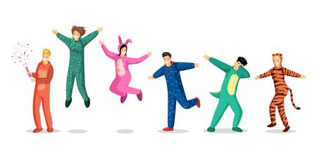 People in pajamas vector illustrations set. Happy teenage girls and boys in colorful costumes, kids in funny pyjamas cartoon characters. Slumber party, overnight stay, sleepover design elements Vector Illustration