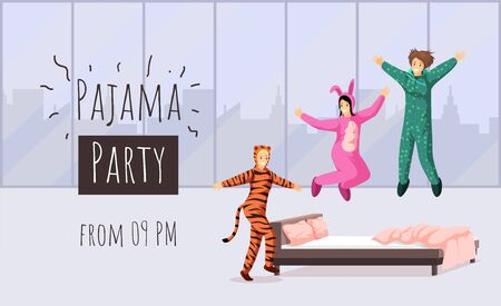 Pajama party flat banner vector template. Sleepover, overnight stay invitation, hen party advertising poster design. Cheerful girlfriends in funny pyjamas illustration with typography