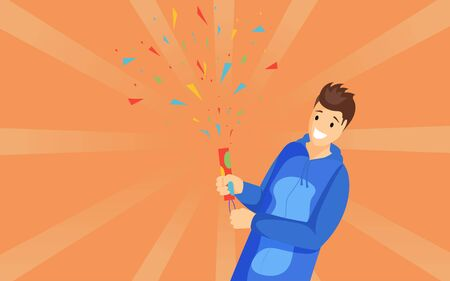 Guy with petard vector illustration. Happy young man holding firecracker, firing confetti cartoon character. Kid celebrating holiday, special event isolated on orange background with sunburst effect Ilustrace