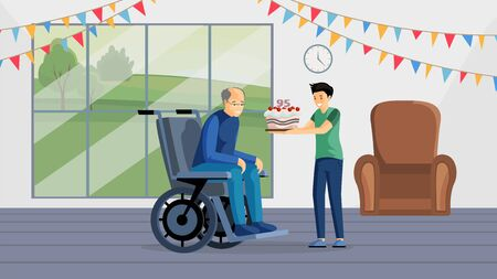 Grandfather birthday celebration flat vector illustration. Happy aged man in wheelchair and boy holding cake cartoon characters. Little volunteer congratulating granddad with anniversary, elderly care