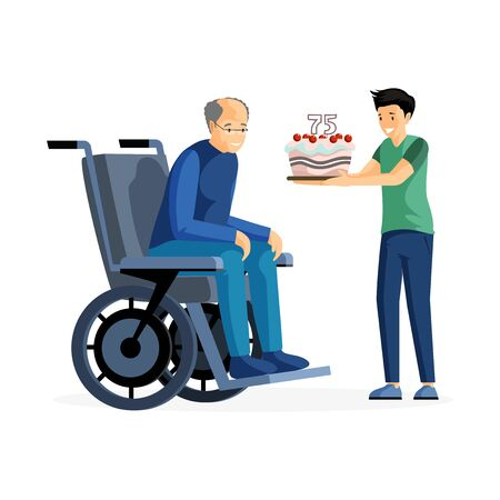 Anniversary celebration flat vector illustration. Happy old man in wheelchair and kid with cake cartoon characters. Grandson congratulating grandfather with birthday, family care and support