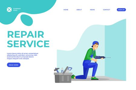 Handyman services vector landing page template. Young repairman making hole in wall using electric drill cartoon character. Husband for an hour, engineer and electrician services homepage design