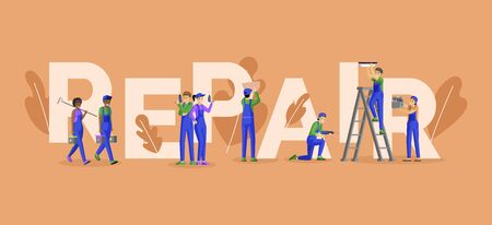 Professional repairman services word concept banner. Skilled electricians, technicians, house painters and tile layers cartoon characters. Workman and handyman team promo poster design