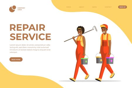 Repair service vector landing page template. Professional house painters, workmen and handymen in overalls cartoon characters. Apartment renovation company services website page layout