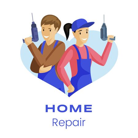Home repair service flat banner template. Repairmen with electric drills cartoon characters. Professional builders, engineers, handyman services advertisement social media post layout Ilustração