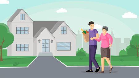 Fils aidant la mère plate illustration vectorielle. Vieille dame souriante et soignant amical marchant ensemble avec des personnages de dessins animés. Jeune homme aidant une femme âgée à rentrer à la maison, transportant des produits d'épicerie