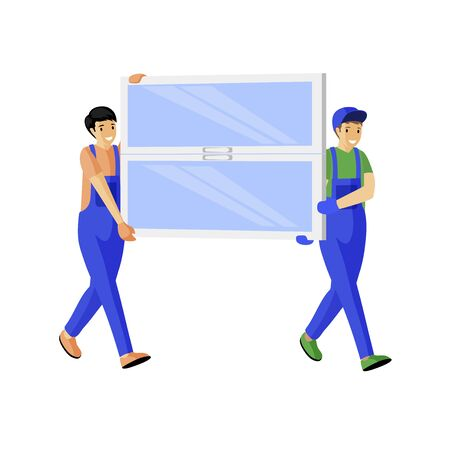 Window store couriers flat vector illustration. Cheerful deliverymen carrying new windowpane cartoon characters. Builders in blue overalls bringing window glass pane isolated on white background Vetores