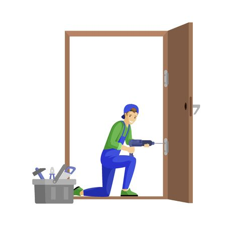 Repairman fixing door flat vector illustration. Professional workman fitting door hinge using electric drill cartoon character. Young carpenter, craftsman at work isolated on white background