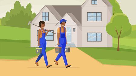 Professional house painters flat vector illustration. Male and female repairman carrying paint buckets and roller cartoon characters. Facade renovation experts offering decorating services Ilustração