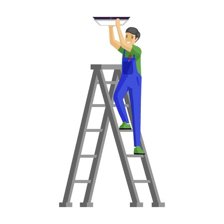 Repairman fitting lamp flat vector illustration. Cheerful male electrician standing on ladder cartoon character. Handyman in uniform fixing lamp to ceiling isolated on white background