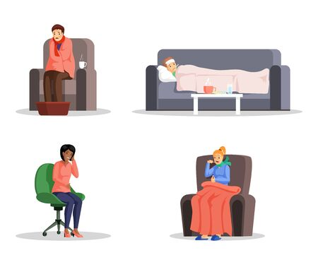 Sick people flat vector illustrations set. Young men and women with cold, fever and migraine cartoon characters. Flu virus, disease home and medical treatment, healthcare design elements